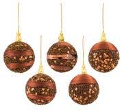 Christmas Balls Decoration, New Year Hanging Ball, Xmas Decor. Isolated over White Background Royalty Free Stock Images