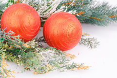 Christmas balls. Christmas decoration with red balls and fir-tree branch Stock Photo