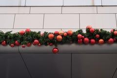 Christmas balls, decoration a shopping center. Royalty Free Stock Photos