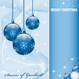 Christmas balls decorations. Christmas scene with hanging ornamental blue balls, snowflakes, stars and snow. Copy space for text stock illustration