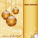Christmas balls decorations. Christmas scene with hanging ornamental gold balls, snowflakes, stars and snow. Copy space for text royalty free illustration