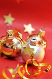 Christmas balls and decorations. On red background stock photo