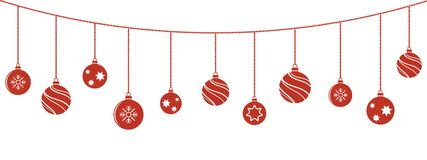 Christmas balls decorations. Christmas hanging ornaments. Vector Stock Images