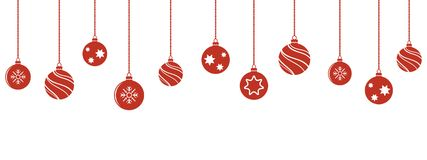 Christmas balls decorations isoladed hanging ornaments. Christmas balls decorations. Christmas hanging ornaments. Vector illustration Royalty Free Stock Photography