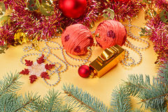 Christmas balls and decorations on gold Stock Photo