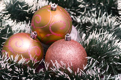 Christmas balls with decorations Royalty Free Stock Photos