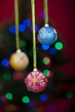 Christmas balls with defocused lights Royalty Free Stock Photos