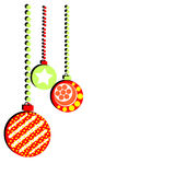 Christmas balls with designs on a white background.Merry Christm. Christmas balls with designs on a white background Royalty Free Stock Image