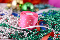 Christmas balls, diamonds and ribbon, new year decoration Stock Image