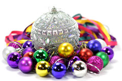 Christmas balls of different colors. Christmas balls of different color and different size, bright, iridescent Stock Images