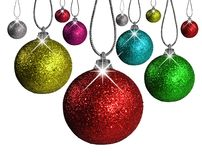 Christmas balls in different colors and sizes Royalty Free Stock Images