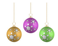 Christmas balls in different colors on white background Stock Photo