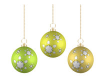 Christmas balls in different colors on white background Royalty Free Stock Image