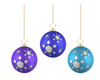 Christmas balls in different colors on white background Royalty Free Stock Photography