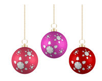 Christmas balls in different colors on white background Stock Photography