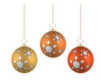 Christmas balls in different colors on white background Royalty Free Stock Images