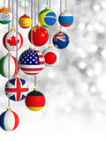 Christmas balls with different flags hanging Stock Photography