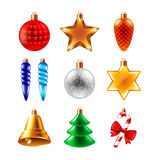 Christmas balls different forms vector set Royalty Free Stock Photos