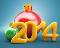 Christmas balls with 2014 digits. On blue background. 3d illustration royalty free illustration