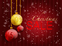 Christmas balls with discount tags on red background. Xmas sale concept. Text space vector illustration
