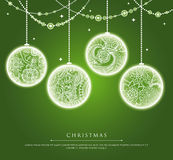 Christmas balls with doodle texture Royalty Free Stock Image