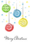 Christmas balls draw watercolor. Christmas balls draw with watercolor brushes  for greetings cards Stock Photo