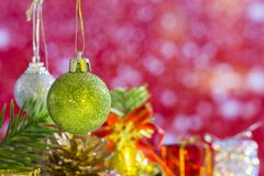 Christmas balls element group set and pink background.  stock photography
