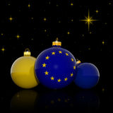 Christmas balls with European Union flag Stock Photos