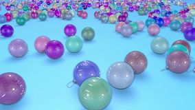 Christmas balls fall crumble to the surface with depth of field. 3d animation for new year compositions or background. 5