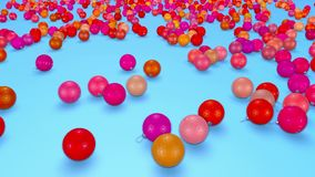 Christmas balls fall crumble to the surface with depth of field. 3d animation for new year compositions or background. 4