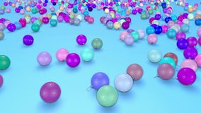 Christmas balls fall crumble to the surface with depth of field. 3d animation for new year compositions or background