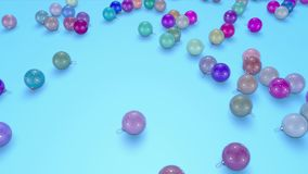 Christmas balls fall crumble to the surface with depth of field. 3d animation for new year compositions or background.