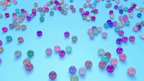 Christmas balls fall crumble to the surface. view from top. 3d animation for new year compositions or background. 6