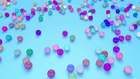 Christmas balls fall crumble to the surface. view from top. 3d animation for new year compositions or background. 15