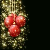 Christmas balls with falling spangles hanging on golden ribbons. Christmas balls with falling sparkles on a dark background vector illustration