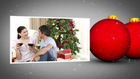 Christmas balls and familys animation Stock Photo
