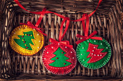 Christmas balls from felt Royalty Free Stock Image