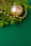 Christmas balls with fir. Small christmas balls with beads Stock Images