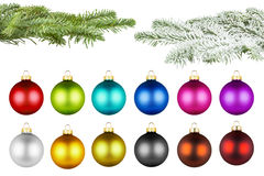 Christmas balls and fir branch set Stock Photos