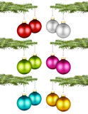 Christmas balls on fir branch set I Stock Image