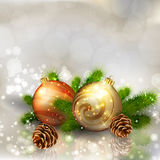Christmas balls with fir branches Royalty Free Stock Images