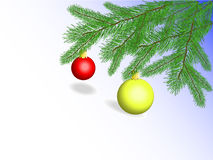 Christmas balls on fir branches. Colored christmas balls on green fir branches Stock Photos