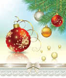 Christmas balls on fir branches. In Christmas decorations Stock Illustration