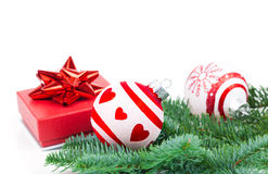 Christmas balls and fir branches with decorations Royalty Free Stock Photo