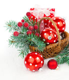Christmas balls and fir branches Stock Photo