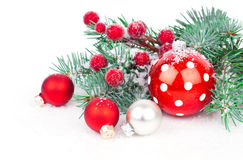 Christmas balls and fir branches Stock Images