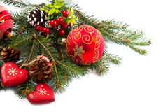 Christmas balls and fir branches with decorations Stock Images