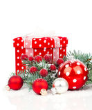 Christmas balls and fir branches Royalty Free Stock Photos