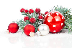 Christmas balls and fir branches Royalty Free Stock Images