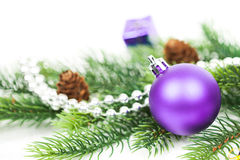 Christmas balls and fir branches with decorations Stock Photo